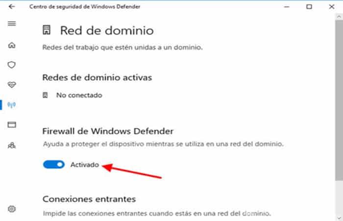 Desactivación de Firewall de Windows
