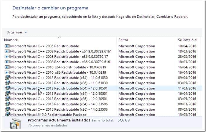 Paquetes instalados de Microsoft Visual C ++