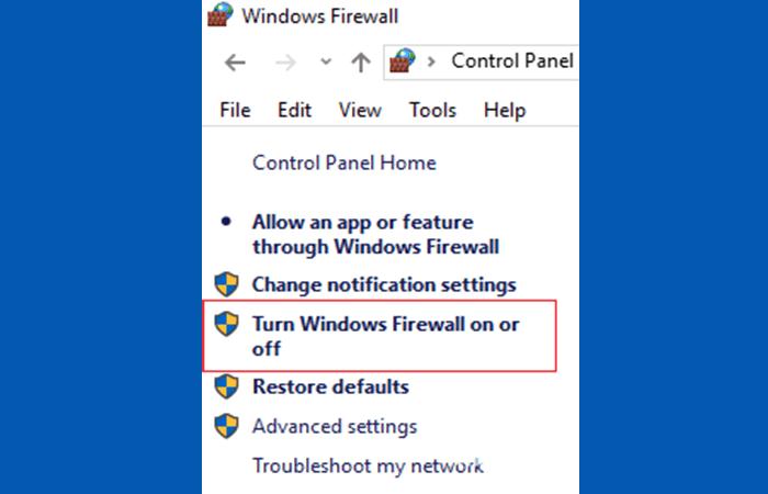Deshabilitaa el firewall