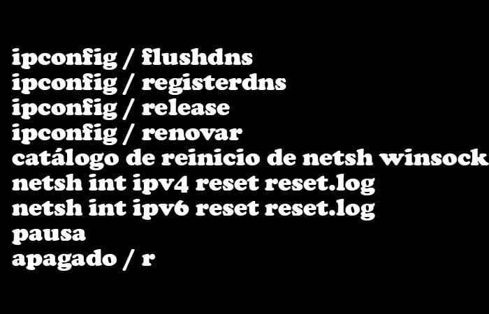 Restableciendo los componentes de red