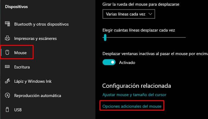 Configuración avanzada del ratón