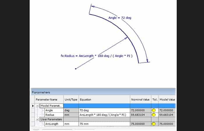 ArcLength * 180 deg / ( Angle * PI )
