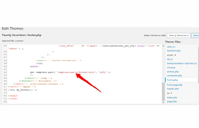 código PHP: get_template_part('template-parts/footer/site', 'info')