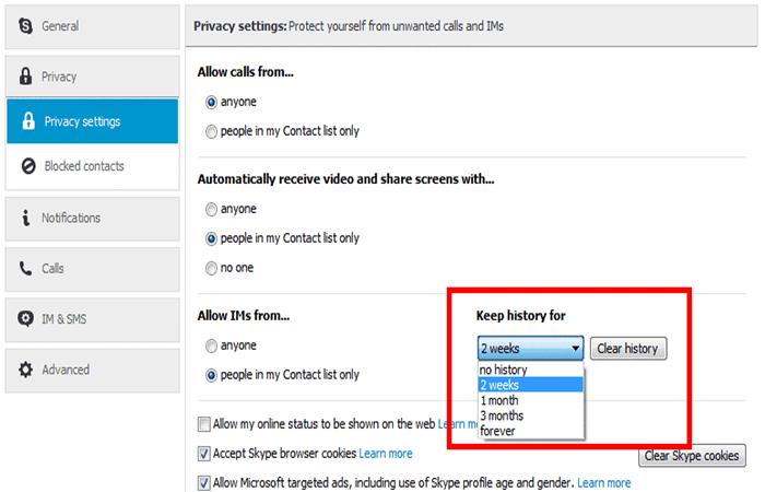 borrar el historial de llamadas de Skype