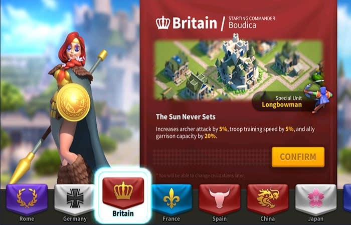Civilización Británica En Rise Of Kingdoms