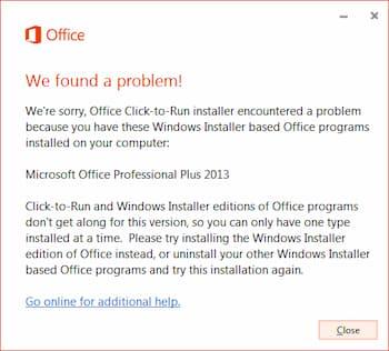 deshabilitar Office click to run