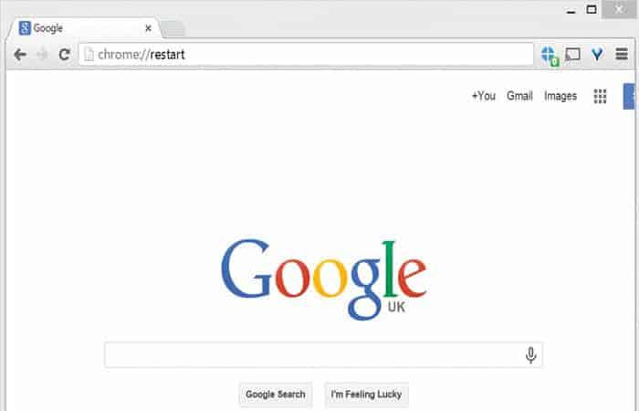 Reinicia el navegador web Chrome