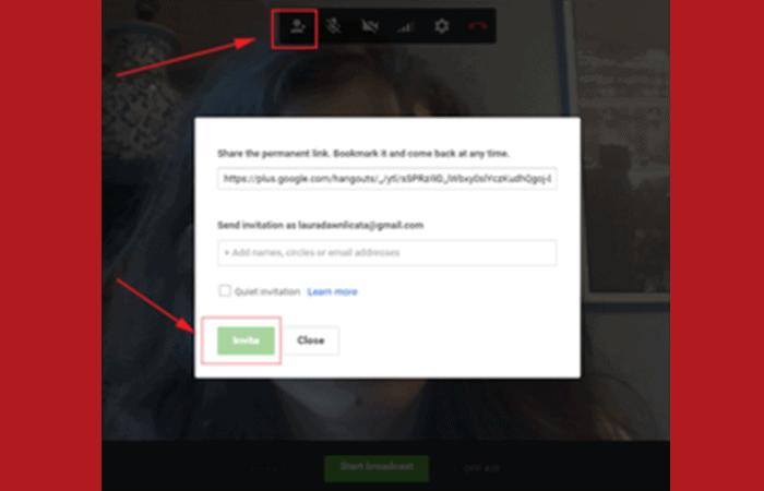 9 paso Invita a personas a tu Hangout en vivo en Google y YouTube.