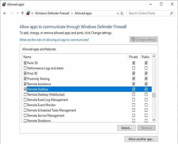 Escritorio remoto Windows 10 no funciona