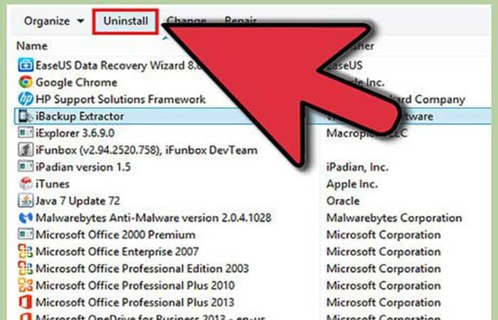 Eliminar programas en Windows 8