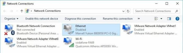 No se detecta cable Ethernet en Windows 10