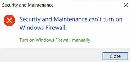 No se puede activar firewall de Windows 10