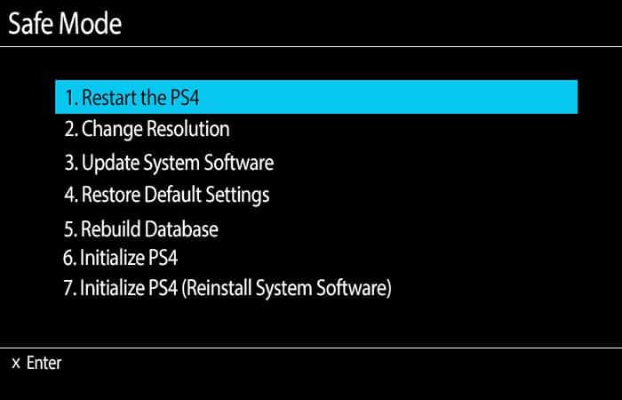 modo seguro de PS4
