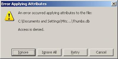 error al aplicar atributos al archivo