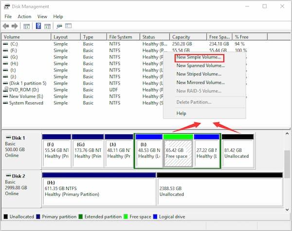 partición de disco en Windows 10