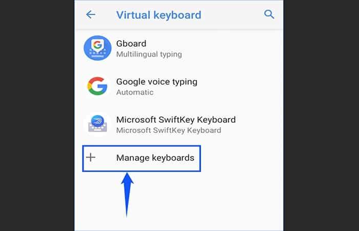 Administrar teclados