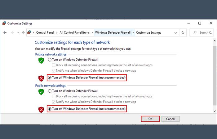 Activar o desactivar Firewall de Windows Defender