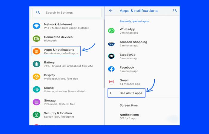 imagen 3z Todas las aplicaciones en la opción Aplicaciones y notificaciones