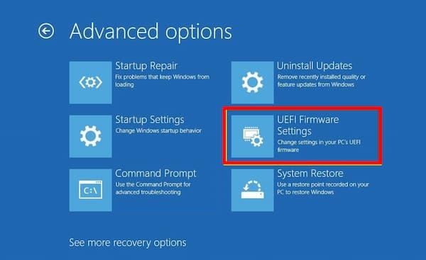 UEFI Firmware Settings Missing Windows 10