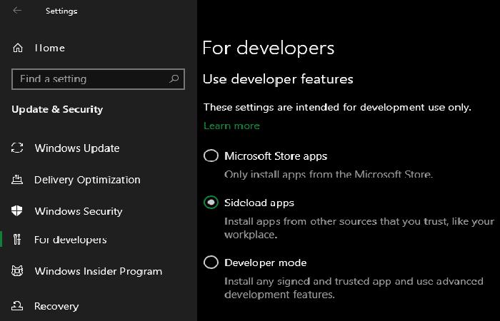 Configuración del instalador de aplicaciones en Windows