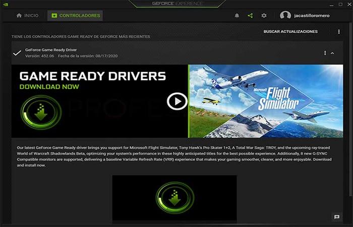Actualiza los controladores de pantalla NVIDIA
