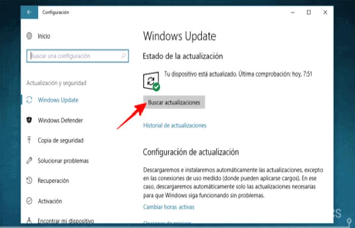 Configuración de Windows Actualización y seguridad