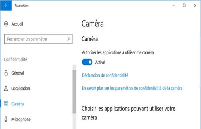 Permitir que las aplicaciones usen mi cámara