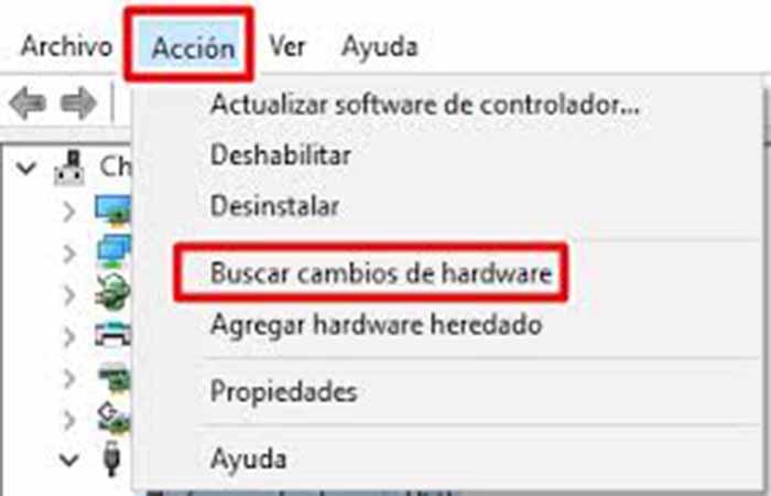 Buscar cambios de hardware.